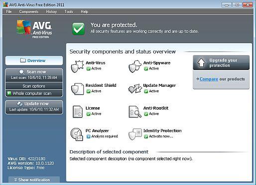 Free AVG 2011 Main Screen