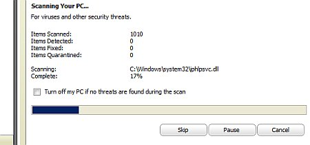 A quick virus scan by Security Center