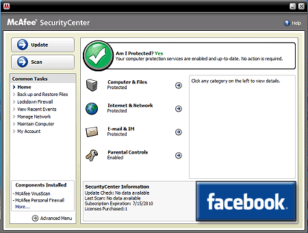 Free McAfee Security Center Antivirus from Facebook
