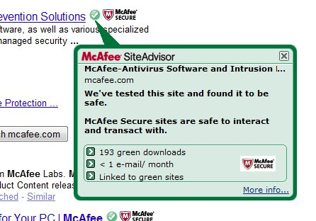 McAfee Site Advisor Pop up
