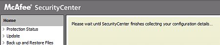 Menu Loading within Mcafee Security Center Antivirus