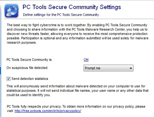 PC Tools secure community settings and threat fire zero day