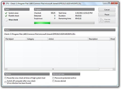 virus scanning in progress