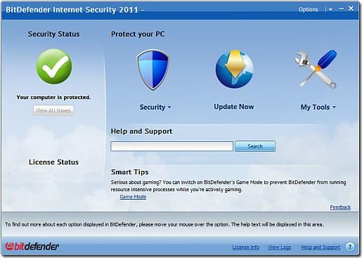 Bitdefender 2011 main interface