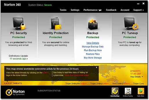 Norton 360 5.0 main screen